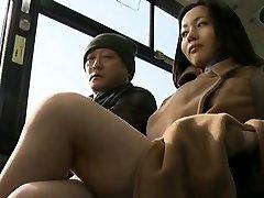 Concupiscent passenger manhandles sexy stunner in public