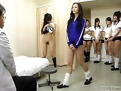 Subtitled CMNF Chinese college girls group medical exam