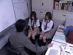 Two Jap schoolgirls fucked in voyeur Japanese fuckfest video