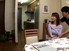 Japanese mom get torn up after husband leaves for work