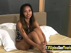 POV sex with a petite Filipina babe with a kinky stranger and his massive beef whistle.