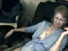 Ultra-cute granny with glasses 3 triple pus