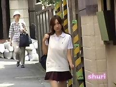 Joyous long-legged oriental schoolgirl gets prettily tricked by sharking guy