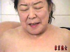 Japanese grannie enjoying sex