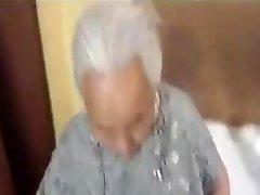 Chubby korian granny being plumbed
