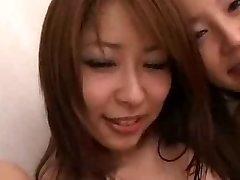 Ιάπωνες babes και Άσπρο κορίτσια στην ομάδα, όργιο