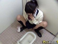 Hairy japanese teenie rubs