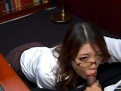 Mischievous Asian secretary in glasses Ibuki deep-throats the spunk-pump of her spoiled boss
