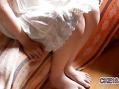 Hairy Japanese Teen Trims Her Bush