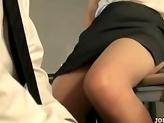 Office Nymph In Tights Railing On Guy Face Fingered On The Floor In The Of