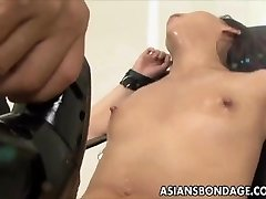 Asian stunner bond and fuckd by a smashing machine