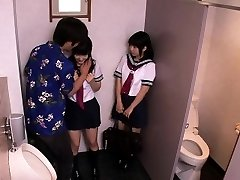 Japanese schoolgirls threeway fuck with boy in wc