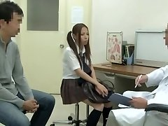 Medical examination with hot Asian vixen being fucked by strung up doctor