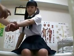Japanese schoolgirl (college-aged+) drilled during medical exam