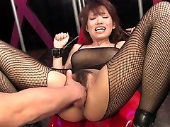 Busty brunette gets her hairy cunt finger-banged and clit teased
