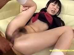 Petite Jav Schoolgirl Gets Ass Fucking Beads And Rough Anal In Her Uniform