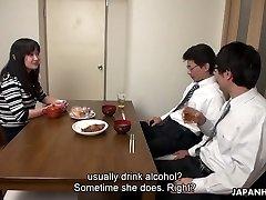 Too fatigued husband falls asleep while his colleague fucks his wifey Risa Kurokawa