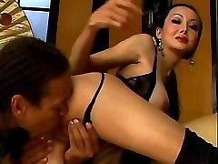 Asian Girl In Nylons Gets A Big Cock Up Her Culo