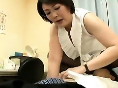 Busty mature fetish girl gives handjob