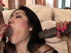 Busty Asian slut plowed in a hot double penatration session