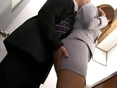 Haruki Sato gets penetrated in her husband�s office