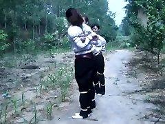 3 Chinese Girls Frolicking In Bondage