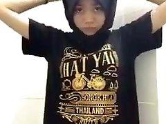 Hijab Muslim Thai Teenage Taking Off Her Clothes