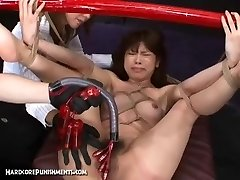 Japanese Fucky-fucky Slave Corded To Bamboo Pole and Fucked Hard With Machines