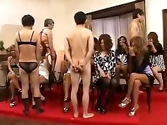 CFNM with outgoing Japanese girls who playfully examine man sausage