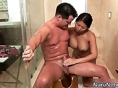 Super-naughty extreme horny asian babe blows