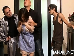 Stunner gets asian cum on face after anal dance extreme