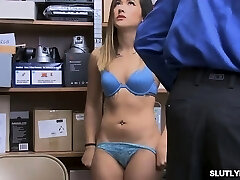 Japanese Aubree caught stealing then works on officers meaty cock