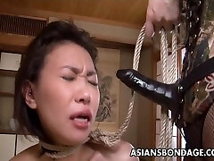 Rough Chinese mistress plows her sweet slave girl