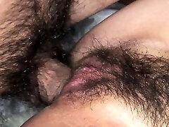 Wooly Asian babe Sayo Hayakawa bound and double fucked hard