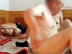 Chinese grandpa fucking rock hard