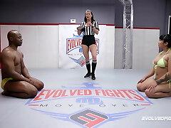Mia Little competitive bare wrestling vs BBC of Will Tile