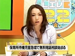 Japanese Gets Eaten Out Doing News & Pumps Out
