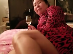 Japanese Milf Beauty Red Dress Feet