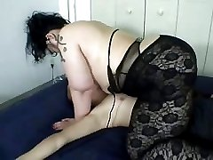 Fat Asian female jumps on male's small dick in passionate fever