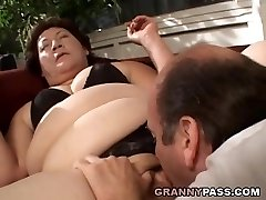 BBW Granny Gets Her Ample Muff Stuffed
