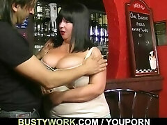 Huge hooters barmaid takes it from behind
