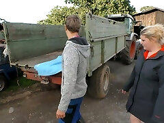 Village round blonde is poked by young farmer and fed with his semen