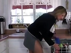 Stepson trying to strength step mother in kitchen