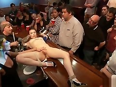 Tied slave fucked in public crowded bar