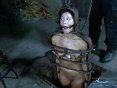 Strappado Bondage, claustrophobia and orgasm predicament for captive girl.