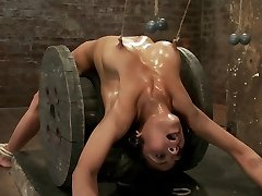 Sexy Dark Haired Experiences Nipple Torture, Brutal Crotch Rope And Extreme Bondage. - HogTied