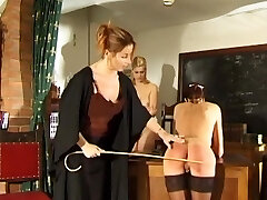 Daughter and mother spanked and caned by strict professor