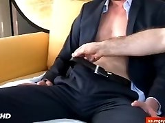 gay-for-pay salesman in suit made a pornography in spite of him to get a contract