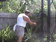 cumming in the yard