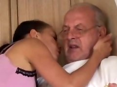 Young brunette licks granddad all over and porks him